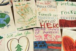 Redding mom Megan Ball and her three children made cards to thank first responders during the Carr Fire.