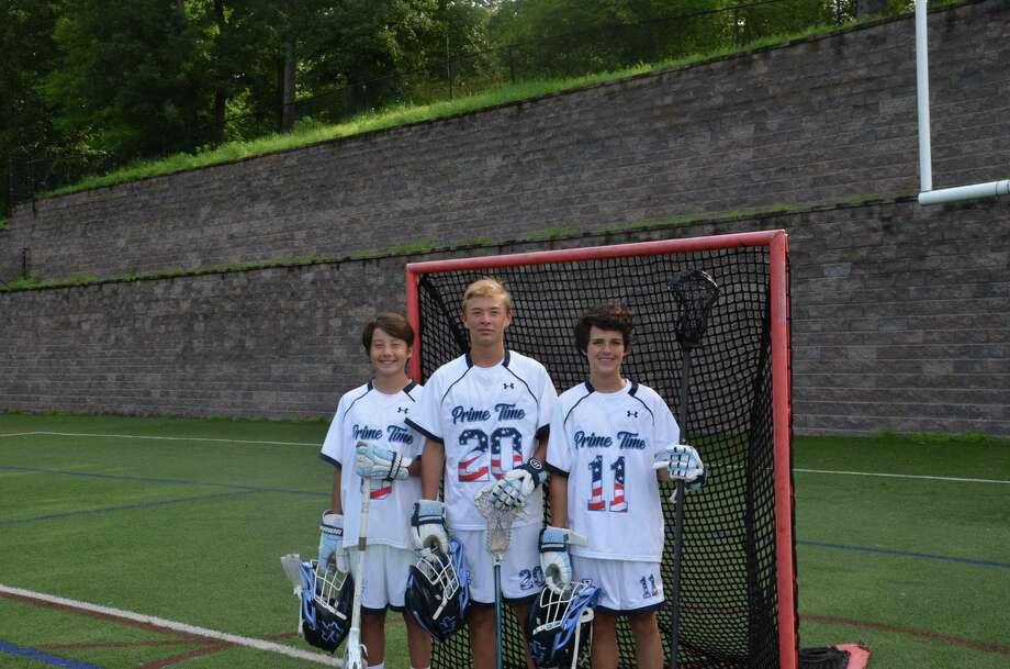 Greenwich residents Teddy Kim, left, Tomas Delgado and Christian Ohlemeyer competed in the Warrior World Series of Youth Lacrosse with their Prime Time lacrosse team recently in Denver, Colo. Photo: Contributed Photo / Contributed Photo / Stamford Advocate Contributed