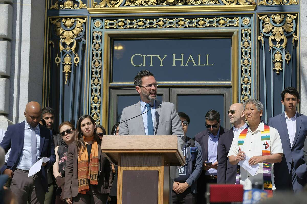 San Francisco Supervisor Ahsha Safai speaks during a news conference outside City Hall on Tuesday, June 26, 2018, in San Francisco.