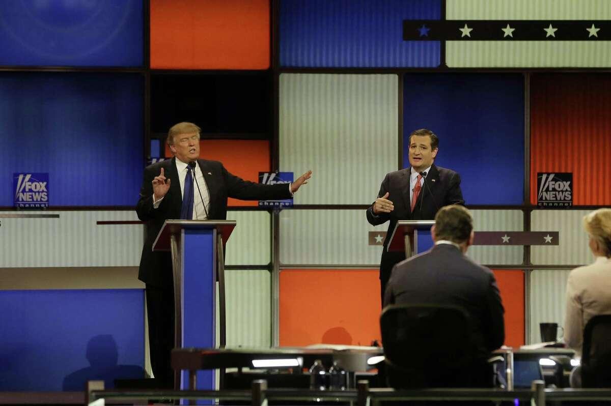 Republican presidential candidates, businessman Donald Trump and Sen. Ted Cruz, R-Texas, argue during a Republican presidential primary debate in 2016.