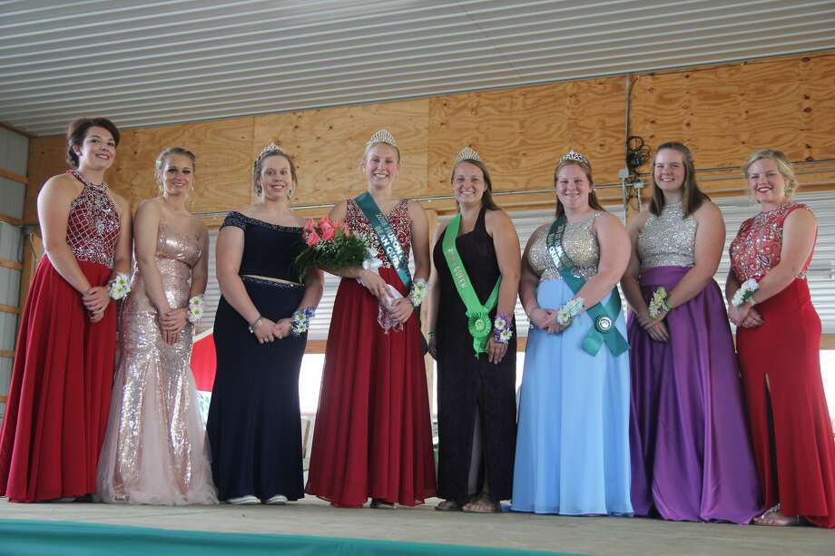 A group shot of the contestants in the 2018 Huron County Bean Queen competition. From left: Victoria Gentner, Kirsten Shupe, second runner-up Makenzie Leavine, Bean Queen Ashley Puvalowski, first runner-up Courtney Stewart, Clara Tait and Mikaela VanErp Photo: Mike Gallagher/Huron Daily Tribune