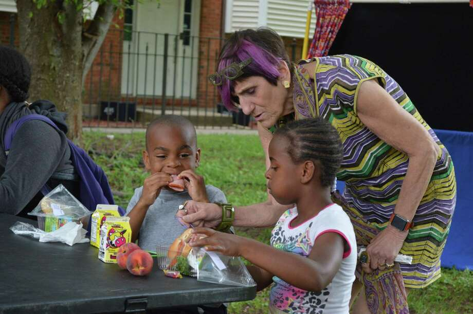 U.S. Rep. Rosa DeLauro, D-3, at Jocelyn Square Park in New Haven visiting a free summer meal site Monday. Photo: Clare Dignan / Hearst Connecticut Media