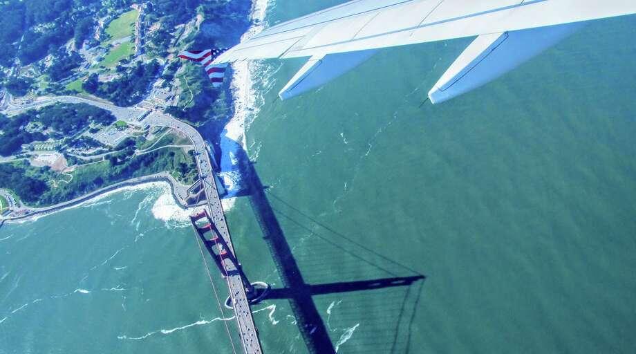 Flying over the Golden Gate Bridge in 2011 on a Virgin America joy ride Photo: Chris McGinnis