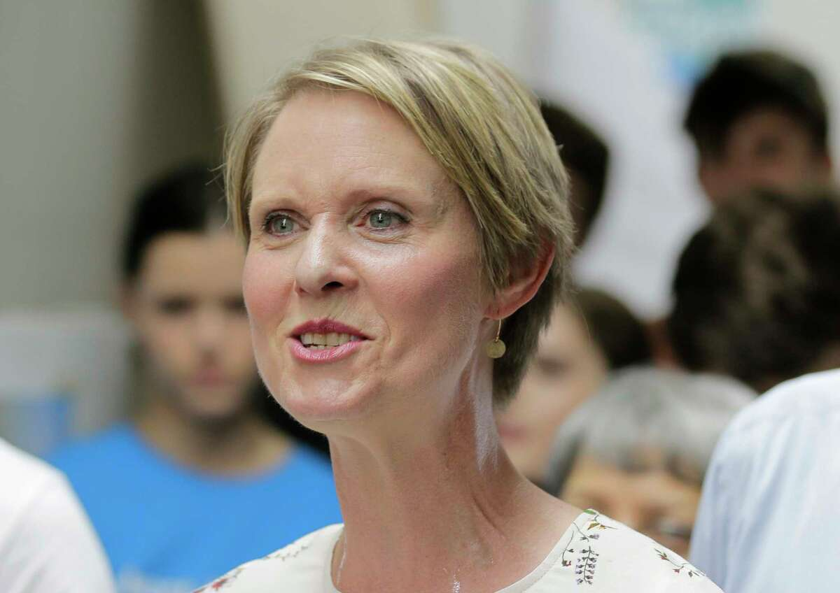 New York Democratic gubernatorial candidate Cynthia Nixon speaks at an event in New York, Tuesday, July 17, 2018. Democratic Gov. Andrew Cuomo has raised another $6 million for his re-election campaign, leaving him with $31 million on hand to go up against Nixon, who has a relatively modest $660,000 on hand. (AP Photo/Seth Wenig)