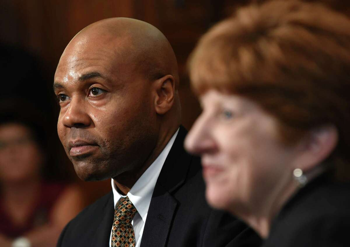 Albany Mayor Kathy Sheehan, right, holds a press conference to introduce Eric Hawkins as the new police chief at City Hall on Monday, July 30, 2018 in Albany, N.Y. (Lori Van Buren/Times Union)