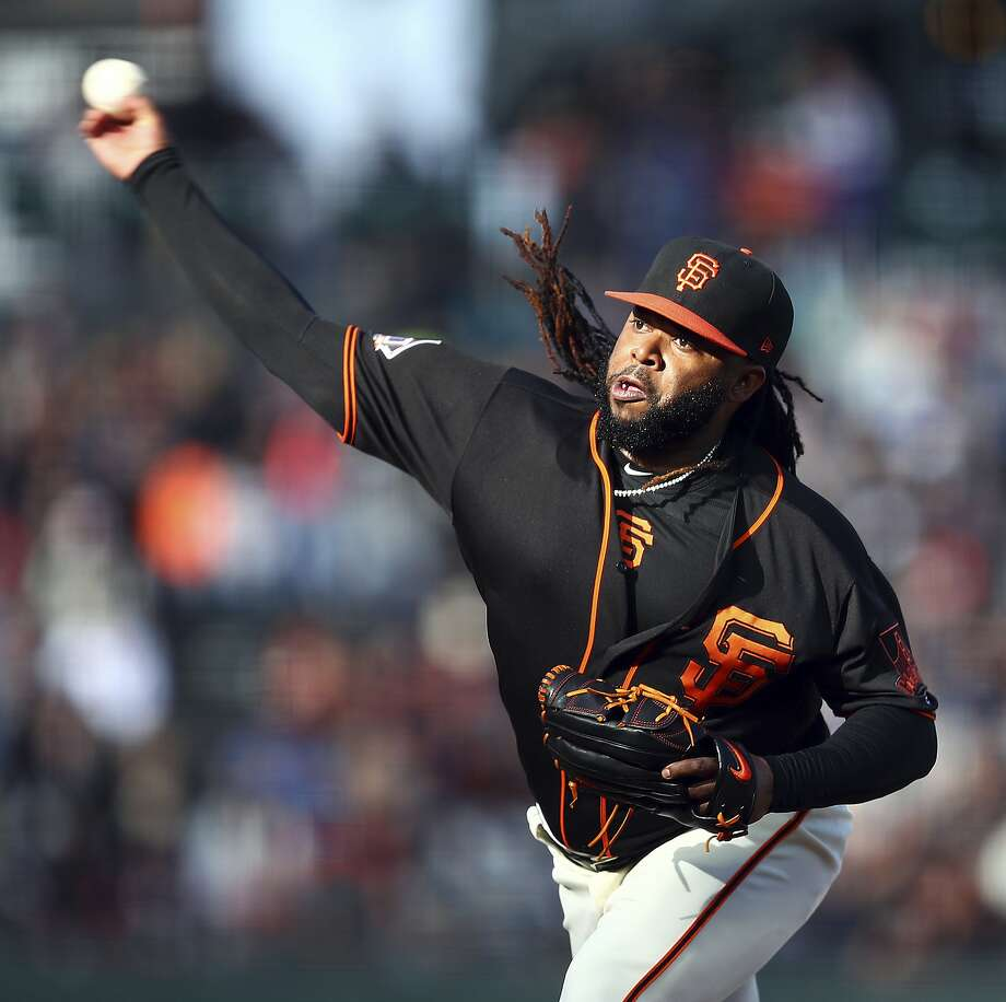 San Francisco Giants pitcher Johnny Cueto works against the Milwaukee Brewers in the first inning of a baseball game Saturday, July 28, 2018, in San Francisco. (AP Photo/Ben Margot) Photo: Ben Margot / Associated Press