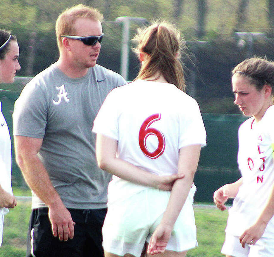 Alton girls soccer coach Jeff Hayes gives halftime instructions to his team during a 3-0 Southwestern Conference victory over Edwardsville on May 1 at AHS. Hayes is the Telegraph Large Schools Girl Soccer Coach of the Year. Photo:       Pete Hayes | The Telegraph