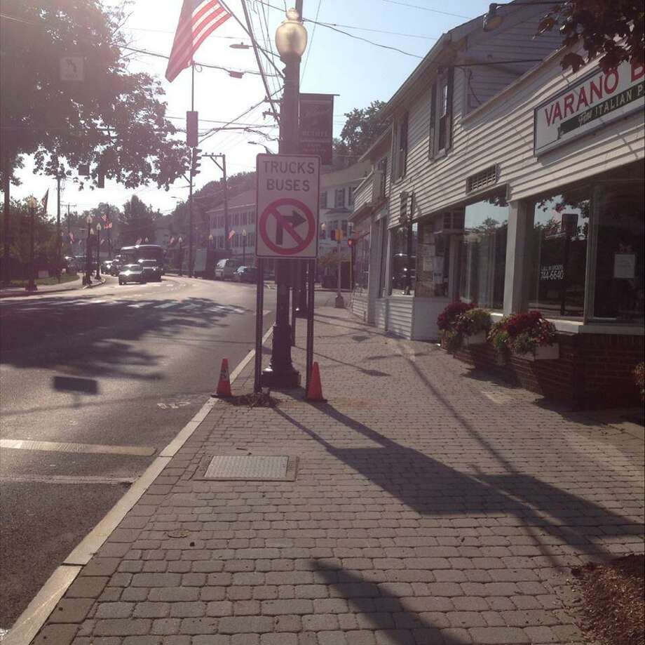 A sign was installed to prevent trucks and buses on Greenwood Avenue from turning right onto Depot Place Photo: / Contributed Photo /Town Of Bethel Facebook Page