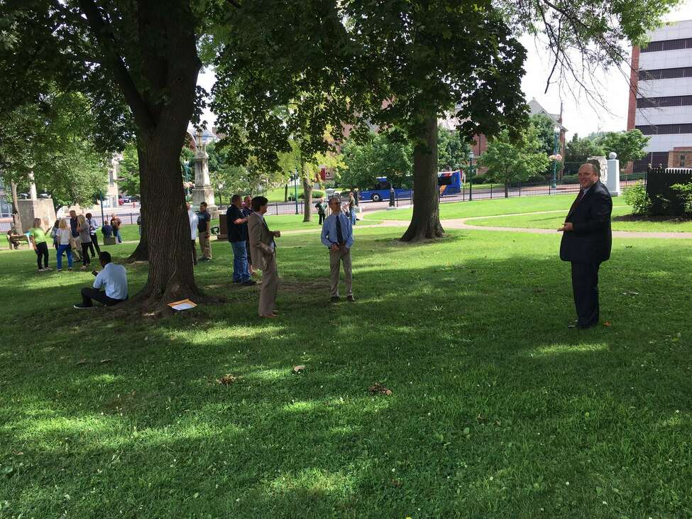 The Schenectady County office building and neighboring courthouse were evacuated after a bomb threat was made on Tuesday, officials said.