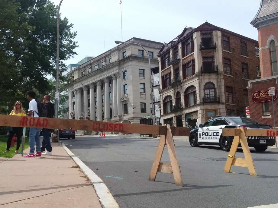 Barriers are set up in downtown Schenectady on Tuesday, July 31, 2018, after city hall, the county courthouse and several other government buildings were evacuated when a threatening note was found. (Kellen Riell/Times Union) Photo: Kellen Riell/Times Union