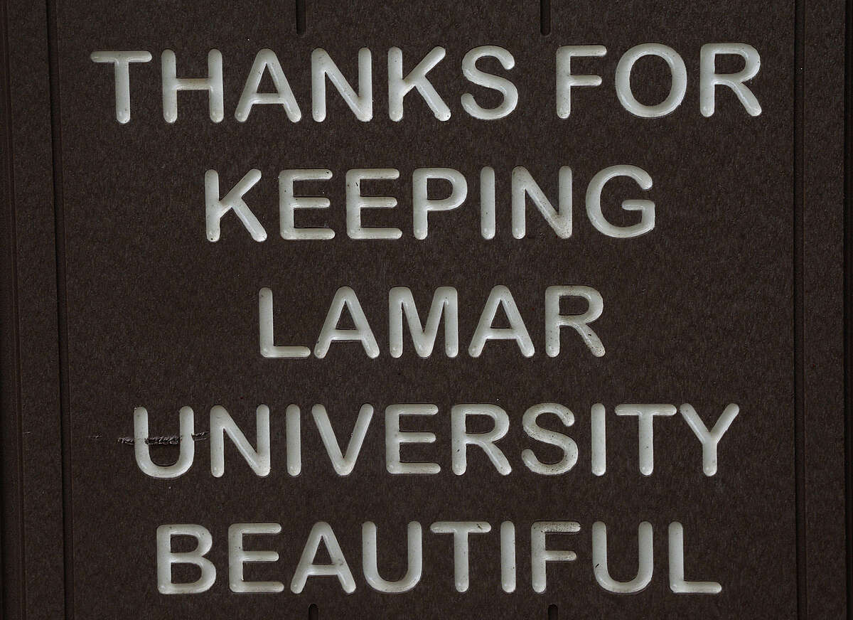 """Trash and recycling bins bearing the message """"Thanks for Keeping Lamar University Beautiful"""" are among the many beautification and environmental projects undertaken by Lamar University President Ken Evans' wife Nancy, who passed away last month following a long battle with cancer. Wednesday, July 11, 2018 Kim Brent/The Enterprise"""