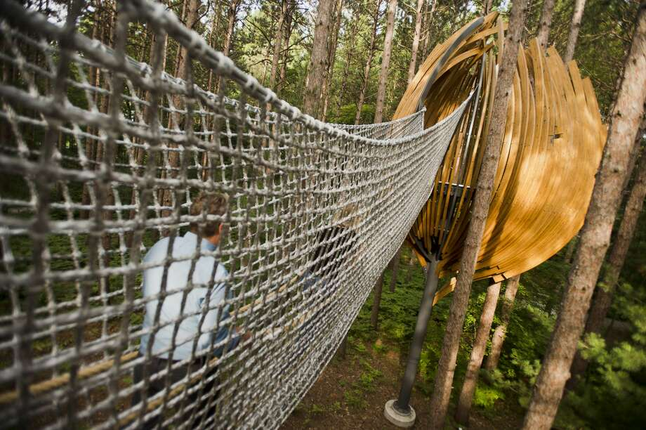 The Whiting Forest Canopy Walk is nearing completion on Tuesday, July 31, 2018. The facility, which features pedestrian bridges, a playground, a forest classroom and a cafe, is scheduled to open on Oct. 7, 2018. (Katy Kildee/kkildee@mdn.net) Photo: (Katy Kildee/kkildee@mdn.net)