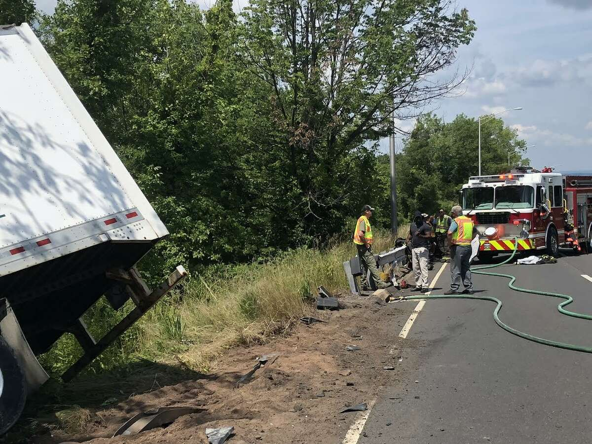 Middletown firefighters responded to a tractor-trailer rollover Tuesday morning on Route 9. The driver is being evaluated for injuries.