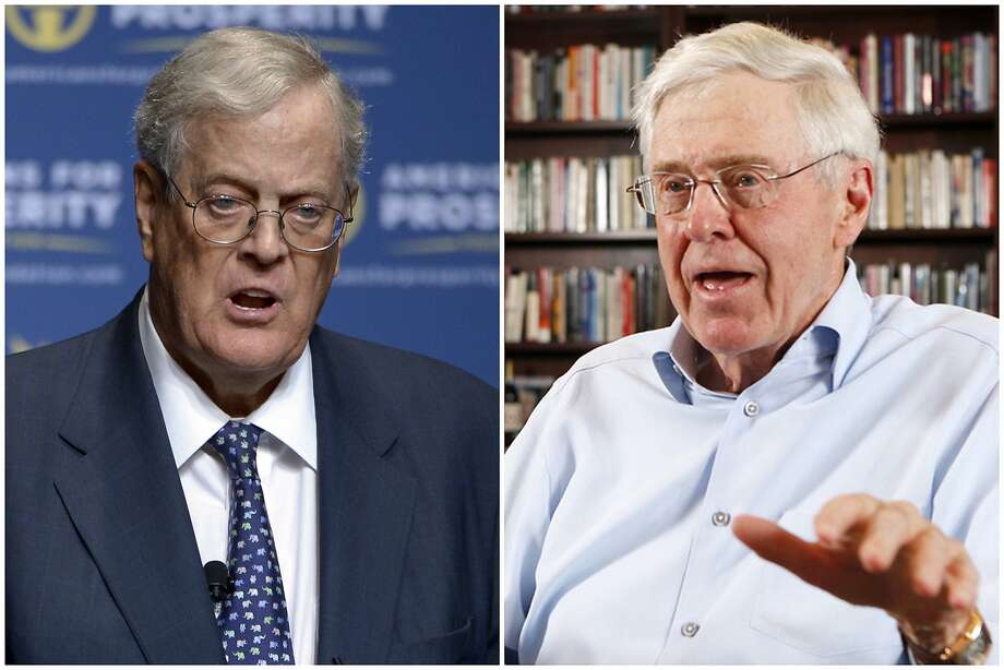 "This combination of 2013 and 2012 file photos shows brothers David, left, and Charles Koch. In July 2018, an estimated 500 Koch donors _ each having committed at least $100,000 annually _ gathered in the mountains of Colorado for an invitation-only ""seminar"" that featured a handful of elected officials and high-profile influencers. The conservative network remains one of the nation's most influential political forces. (Phelan M. Ebenhack, Bo Rader/The Wichita Eagle via AP) Photo: Phelan M. Ebenhack, Bo Rader, Associated Press"