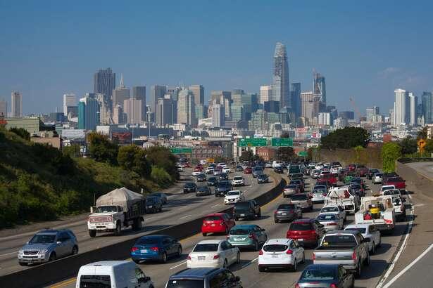 San Francisco, California skyline with traffic