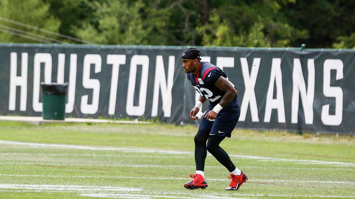 Houston Texans defensive back Aaron Colvin (22) runs a backpedaling drill after practice during training camp at the Greenbrier Sports Performance Center on Tuesday, July 31, 2018, in White Sulphur Springs, W.Va.