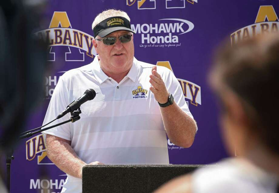 Head coach Greg Gattuso talks to the press as the University at Albany football team holds their media day on Tuesday July 31, 2018 in Albany, N.Y. (Lori Van Buren/Times Union) Photo: Lori Van Buren, Albany Times Union / 20044446A