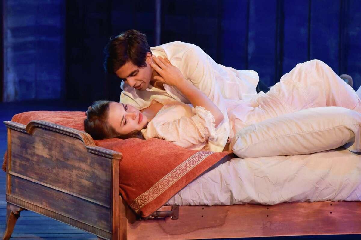"Isabel Pask as Juliet and Taha Mandviwala as Romeo in ""Romeo and Juliet."""