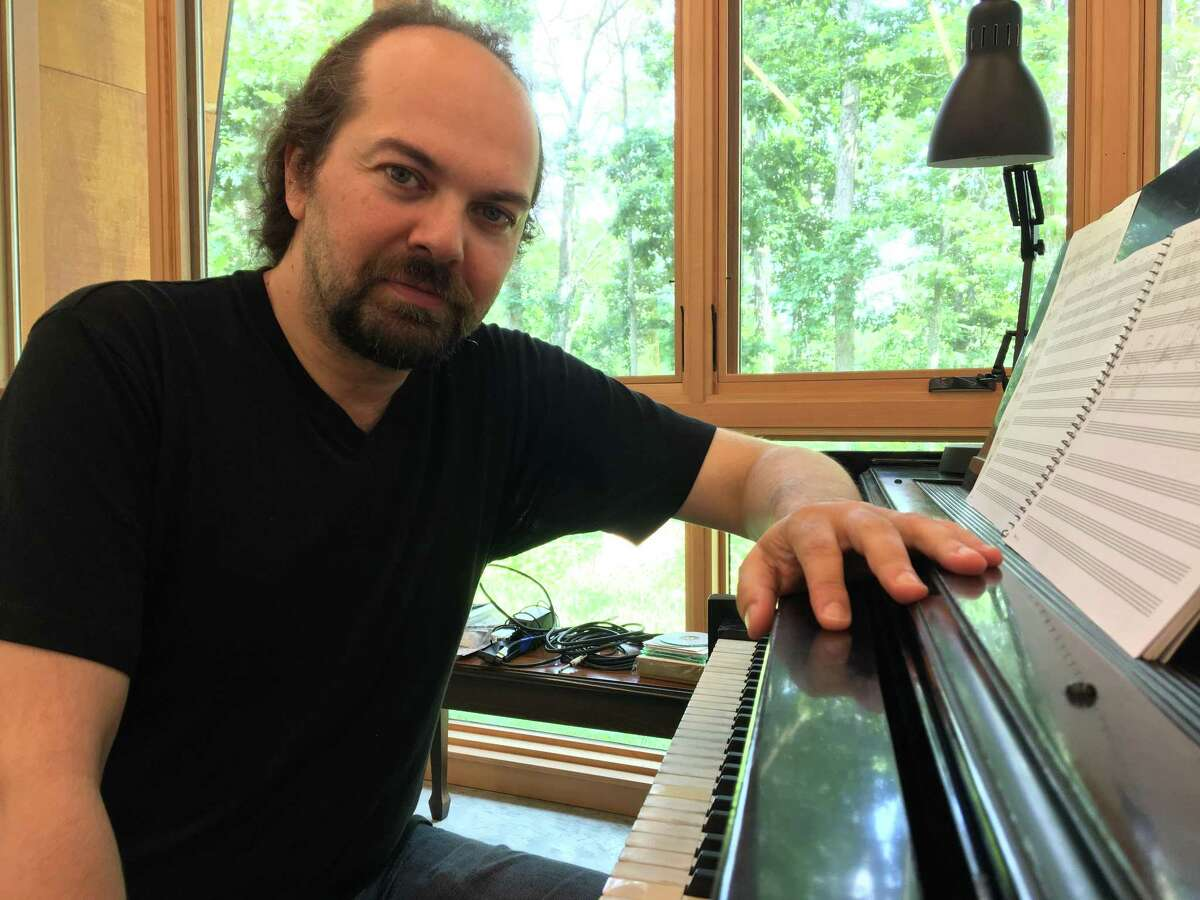 Composer Octavio Vasquez in his I-Park Studio in East Haddam.