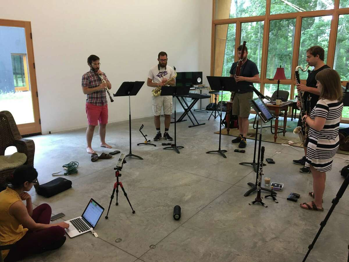 Niloufar Nourbakhsh rehearses with Akropolis Reed Quintet at I-Park in East Haddam in preparation for concerts on Aug. 4 and Aug. 6.