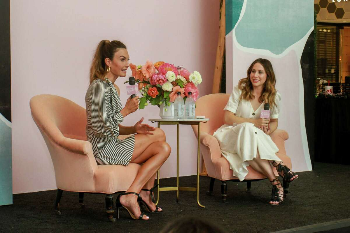 Elizabeth Chambers, left, and Jaclyn Johnson onstage at the Create and Cultivate Summit.