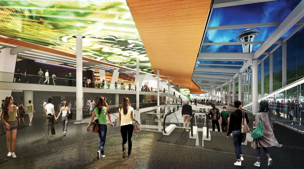 Renderings show Seattle's KeyArena renovated according to plans by Oak View Group, which announced that a joint venture between Skanska and AECOM Hunt would oversee the $700 million project as general contractor.