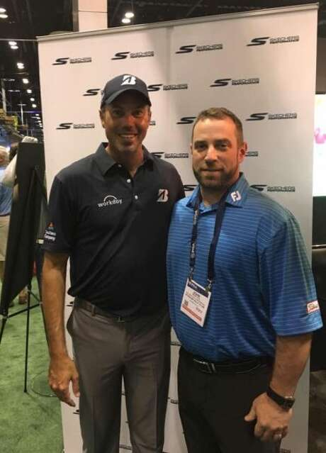 PGA Teaching Professional John Souza, director of instruction at Ballston Spa Country Club, with PGA professional Matt Kuchar at the PGA Merchandise Show, Orlando, in January 2017.