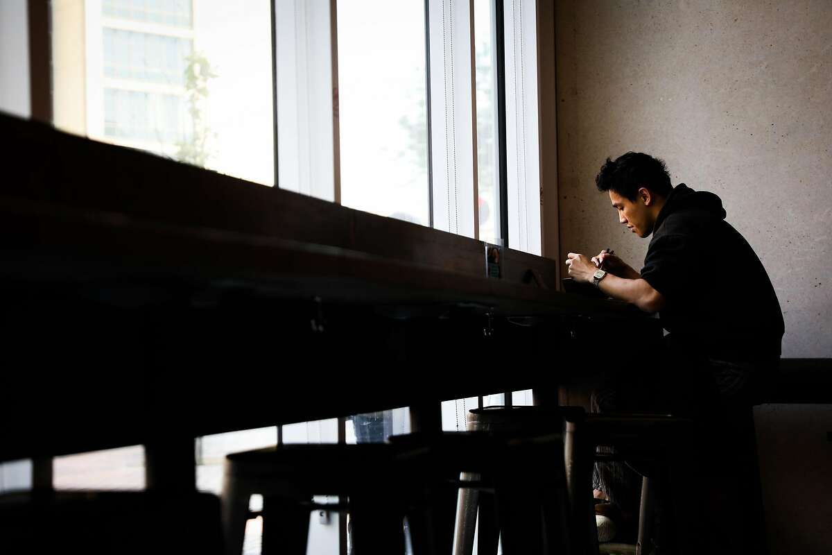 Daniel Chen dines at Kagawa-Ya Udon for lunch on Market Street in San Francisco, California, on Tuesday July 31, 2018.
