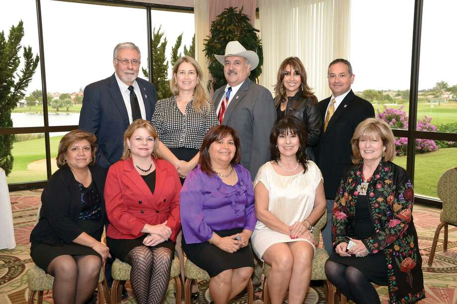 (top) Joe Rodriguez, Lizbeth Uribe, Onyx Benavides, Zoraida Jackson, Mercurio Martinez, (bottom) Esmeralda Robles, Paula Pueblitz, Ana Maya, Sylvia Ramirez and Virginia Muller at the Laredo Country Club for the Laredo Association of Realtors 2013 Officers and Directors Installation Banquet, Thursday afternoon. Photo: Danny Zaragoza, Staff Photographer / LAREDO MORNING TIMES