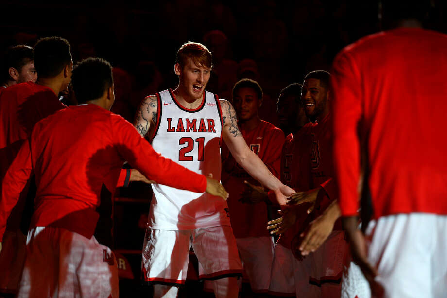 Lamar forward Colton Weisbrod is introduced with the starting lineup before playing UTSA on Tuesday night. 