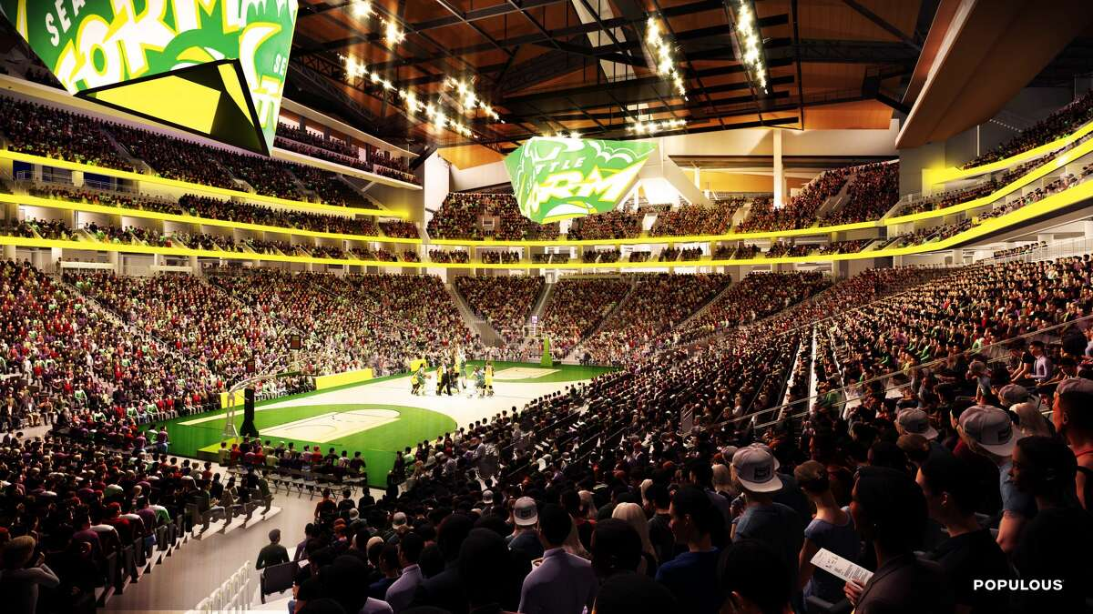 One rendering shows how a renovated KeyArena will look set up for Seattle Storm play, likely similar to what an NBA arrangement would be. Oak View Group announced on Tuesday that a joint venture between Skanska and AECOM Hunt would oversee the $700 million project as general contractor.