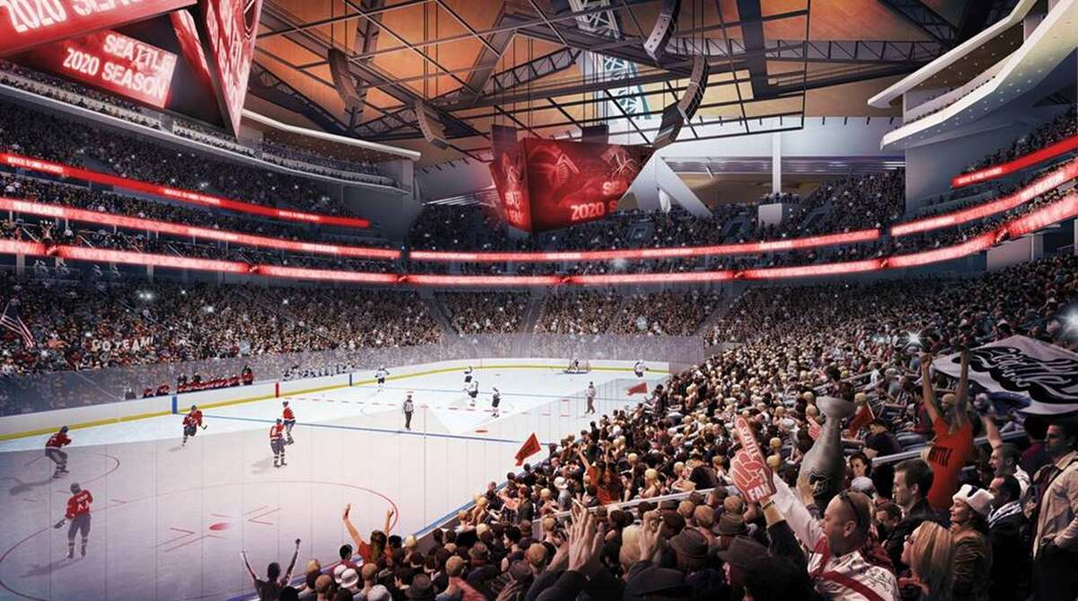 This rendering shows a renovated KeyArena as it would be arranged for NHL play. Developers said Tuesday that hockey is a focus of the renovation, while music and entertainment are also high priorities, but they're also making sure the arena is ready for an NBA team, should the opportunity arise. Oak View Group announced on Tuesday that a joint venture between Skanska and AECOM Hunt would oversee the $700 million project as general contractor.