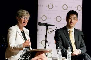 Phyllis Yaffe, left, consul general to New York from Canada, at a forum on tariffs and trade at the Infinity Music Hall in Hartford Tuesday with Yumin Zhao, acting consul general in New York from China. The event was sponsored by the World Affairs Council of Connecticut.