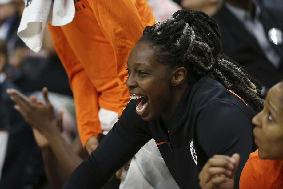 Team Candace Parker's Chelsea Gray reacts to the Three-Point Contest during halftime of the WNBA All-Star basketball game Saturday, July 28, 2018 in Minneapolis. (AP Photo/Stacy Bengs) Photo: Stacy Bengs / Associated Press