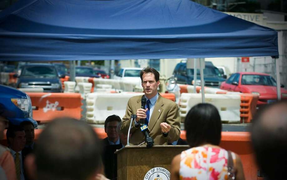 U.S. Rep. Jim Himes, D-Greenwich, announces a $16 million federal grant to the Urban Transitway during a press conference at the corner of Myrtle Avenue and Elm Street in Stamford,  Conn. on Friday July 9, 2010. Photo: Kathleen O'Rourke / Stamford Advocate