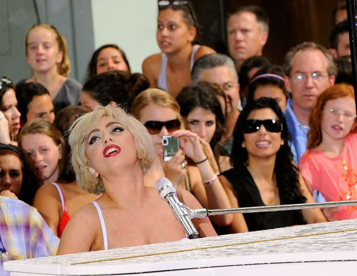 """NEW YORK - JULY 09: Singer Lady Gaga performs on NBC's """"Today"""" at Rockefeller Center on July 9, 2010 in New York City. (Photo by Jemal Countess/Getty Images) *** Local Caption *** Lady Gaga"""