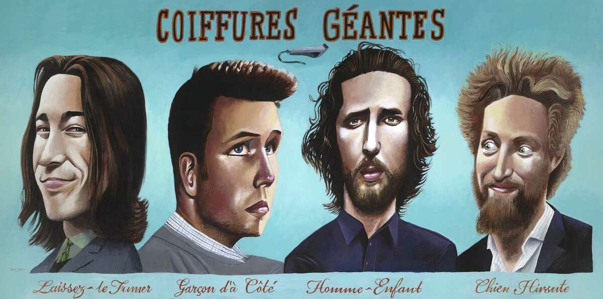"""""""Coiffures Géantes"""" by Mark Ulriksen features Tim Lincecum (left), Buster Posey, Madison Bumgarner and Hunter Pence sporting their distinctive haircuts."""