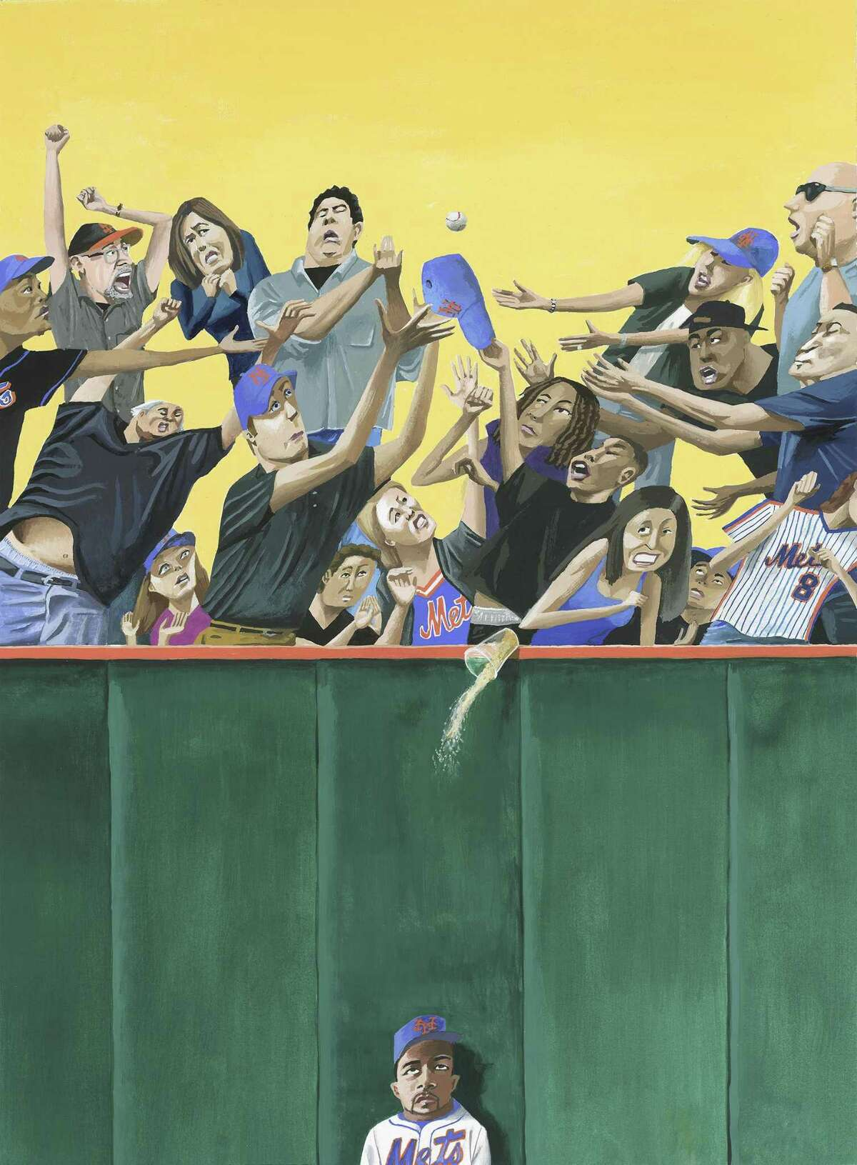 """In """"Soaked,"""" a player is about to be doused by a beer toppled by Mets fans going for a ball."""