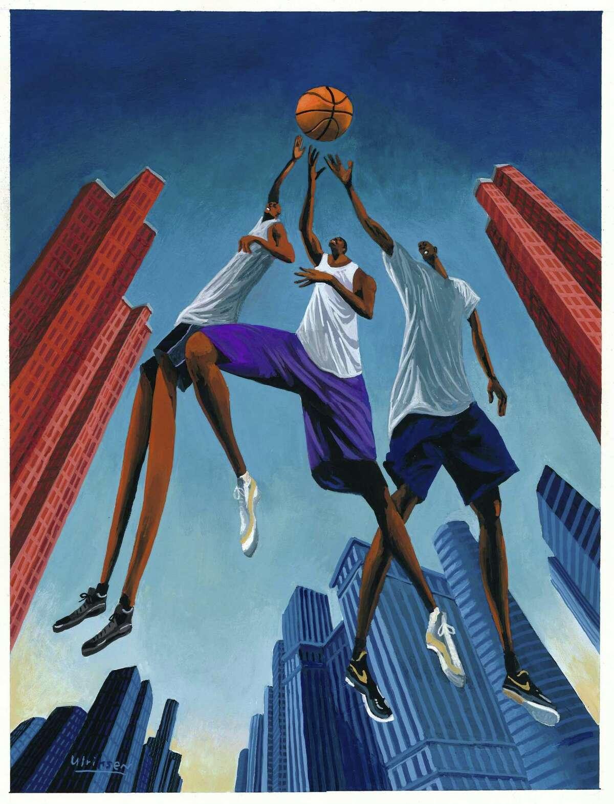 "Basketball players jump high in Mark Ulriksen's ""City Ball."""