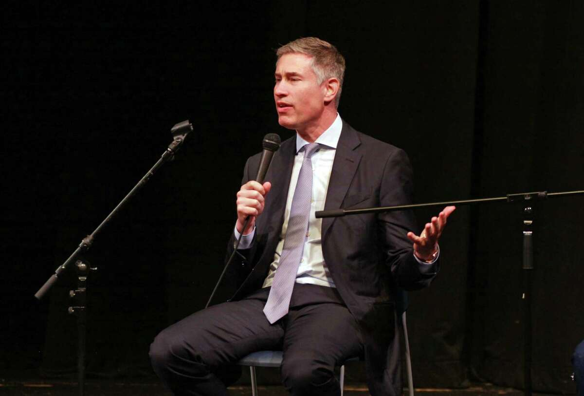 Gubernatorial candidate David Stemerman, of Greenwich, speaks during the Create the Vote forum held at the Cooperative Atrs & Humanities High School in New Haven on Tuesday.