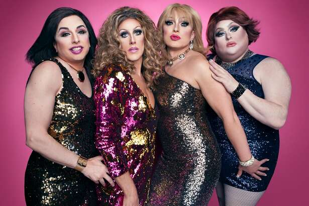 """Steven Lemay (Charlotte), Sue Casa (Carrie), D'Arcy Drollinger (Samantha and Lady Bear (Miranda) in """"Sex And The City Live!"""""""