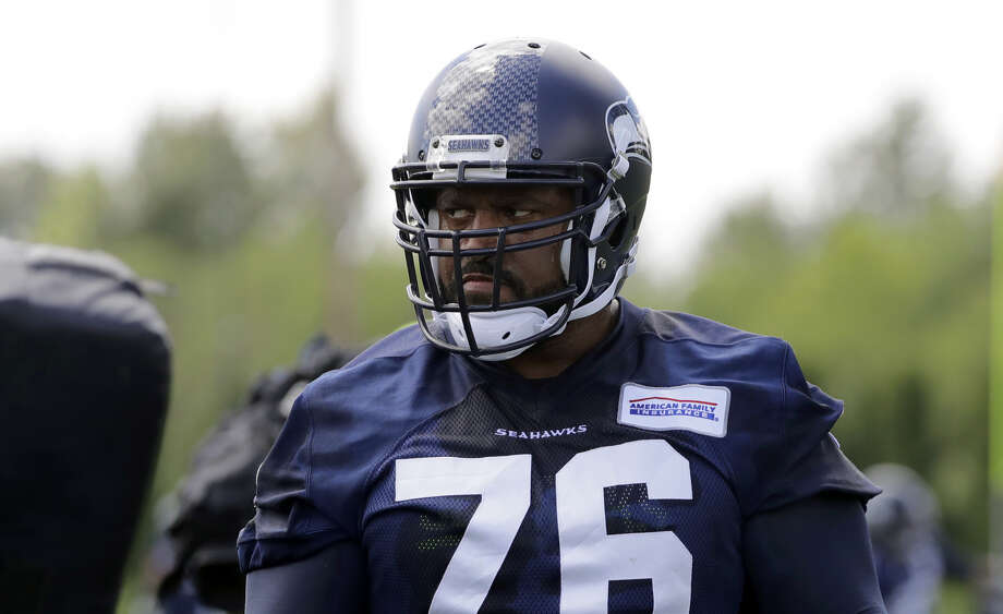 Seahawks standout left tackle Duane Brown is doubtful for Sunday against the Cleveland Browns with a biceps injury.  Photo: Ted S. Warren/Associated Press