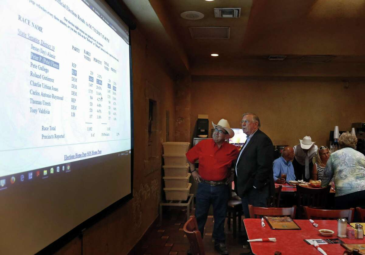 Republican Pete Flores watches early result come in with Stuart Knowlton, Campaign Mgr. Republican Pete Flores, a retired Texas game warden, is holding his SD19 election night watch party at Don Pedro Mexican Restaurant, 1526 SW Military Dr. on Tuesday, July 31, 2018.