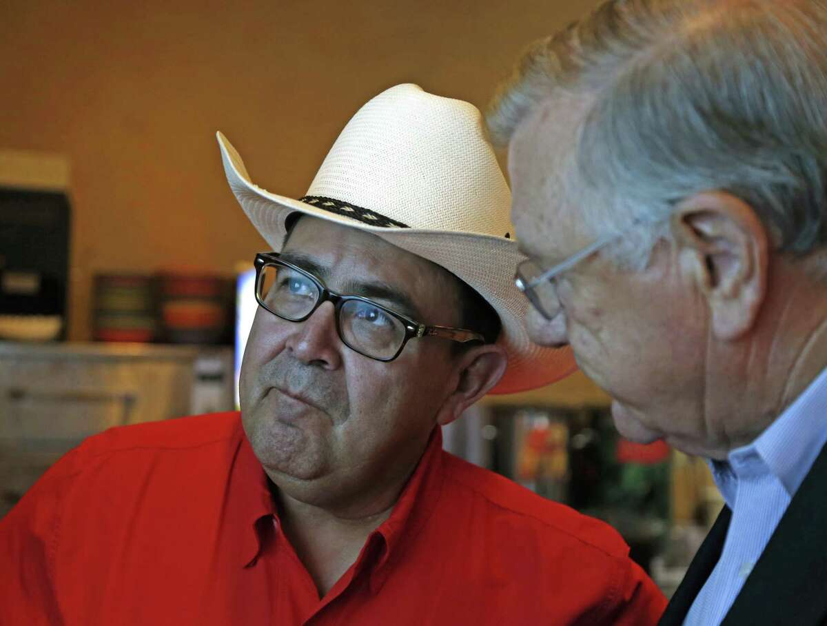 Republican Pete Flores, seen at his election night watch party at Don Pedro Mexican Restaurant, made it to the Texas Senate District 19 runoff Tuesday night.