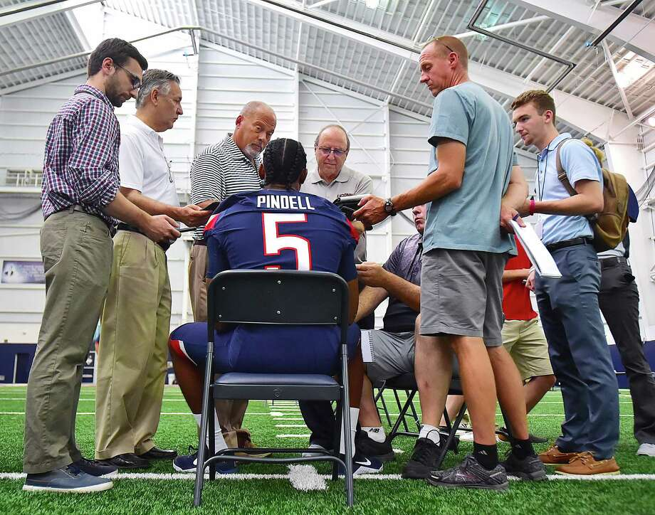 UConn quarterback David Pindell is interviewed by sports wrtiers at media day, Tuesday July 31, 2018, at the Shenkman Training Center at the  Burton Family Football Complex in Storrs. Photo: Catherine Avalone, Hearst Connecticut Media / New Haven Register