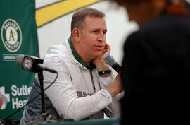 Oakland Athletics' general manager David Forst talks about the season during a press conference at the Oakland Coliseum on Mon. Oct. 2, 2017,  in Oakland, Ca.