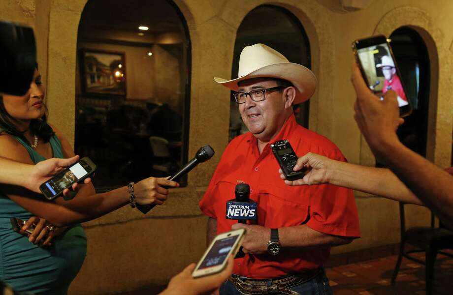 Pete Flores meets with the press. Republican Pete Flores, a retired Texas game warden, is holding his SD19 election night watch party at Don Pedro Mexican Restaurant, 1526 SW Military Dr. on Tuesday, July 31, 2018. Photo: Ronald Cortes, Photo Correspondent / 2018 Ronald Cortes