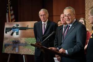 """Senate Minority Leader Chuck Schumer (D-N.Y.) speaks at a news conference regarding 3-D printable plastic guns, on Capitol Hill in Washington, July 31, 2018. Democratic lawmakers and gun control groups are waging a frantic legal fight to block online blueprints for 3-D printed """"ghost guns,"""" even as President Donald Trump said he is """"looking into"""" his administration's decision to allow their distribution. (Erin Schaff Erin Schaff/The New York Times)"""