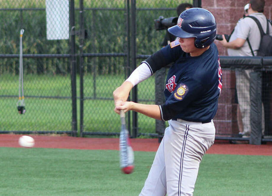 Alton's Adam Stilts lines a single into right field to lead off a three-run third inning for Post 126 before lightning and rain halted play in the Senior Legion state tournament on Tuesday at SIUE. Photo:       Greg Shashack   The Telegraph