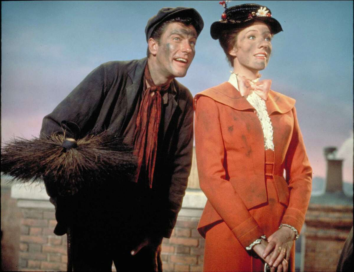 """Dick Van Dyke as Bert and Julie Andrews as the magical nanny in """"Mary Poppins."""""""